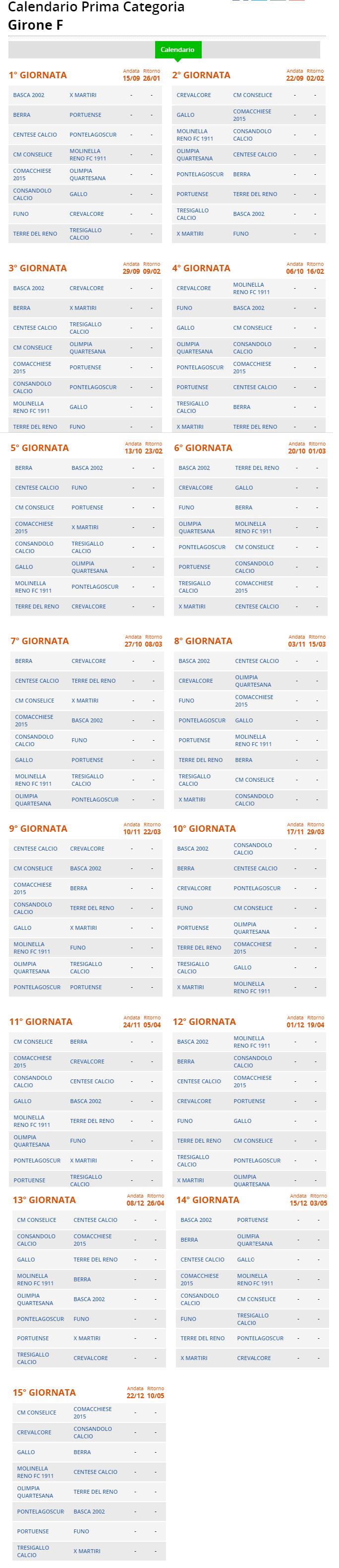 Agosto 2020 Calendario.Prima Categoria Girone F Il Calendario Della Stagione 2019