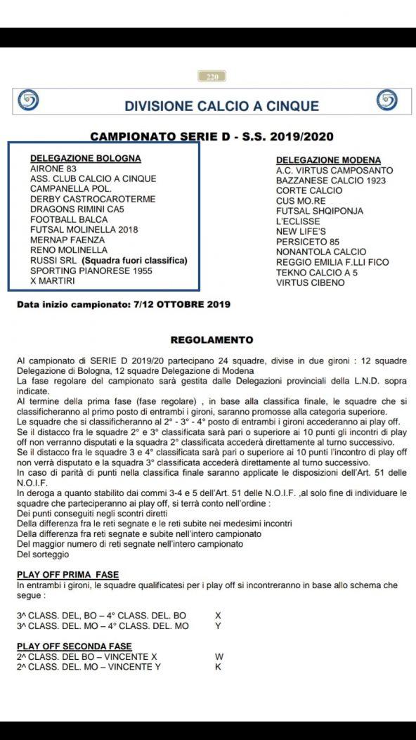 Risultati E Classifica Prima Squadra Calcio A 5 Serie D X Martiri A S D