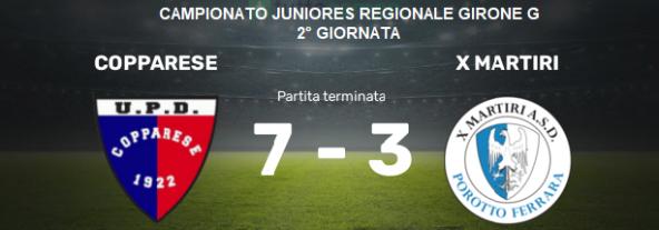 Juniores Regionale  – Una X Martiri rimaneggiatissima cade a Copparo per 7 a 3